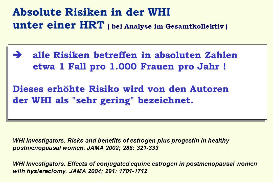 Absolute Risiken in der WHI unter einer HRT ( bei Analyse im Gesamtkollektiv )