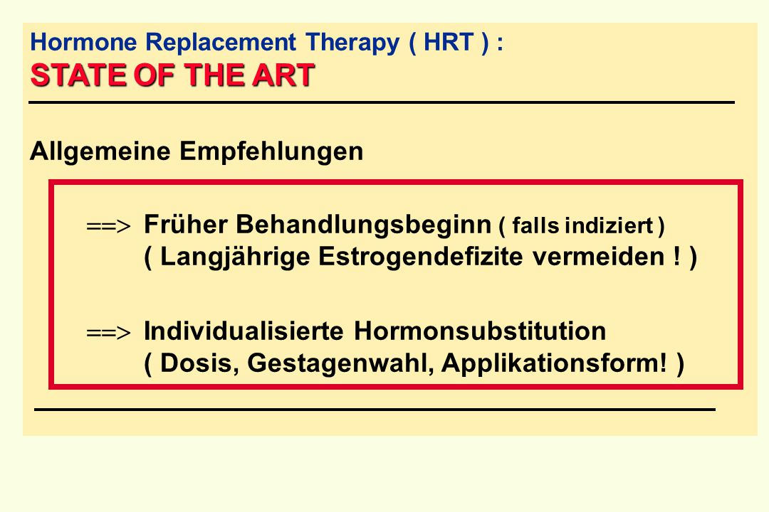 Hormone Replacement Therapy ( HRT ) : STATE OF THE ART