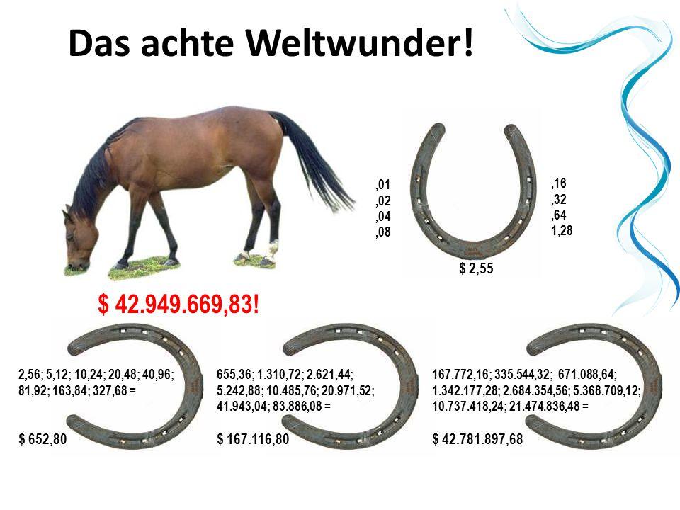 Das achte Weltwunder! $ 42.949.669,83! $ 2,55 $ 652,80 $ 167.116,80