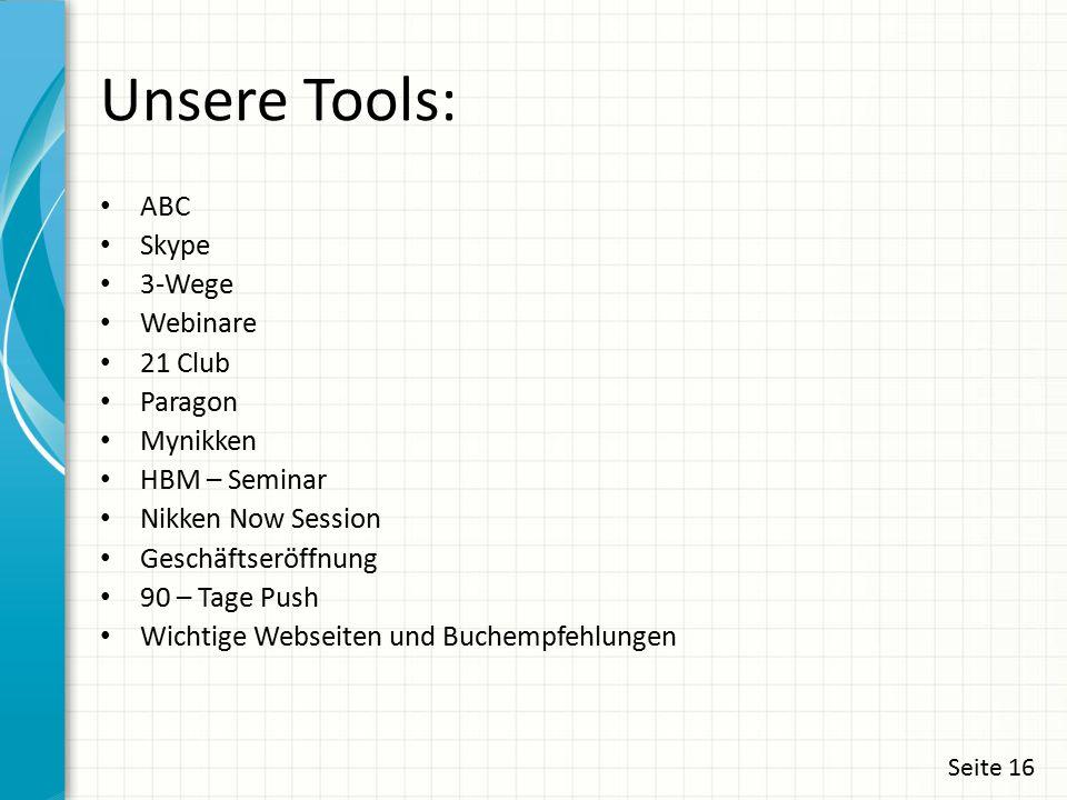 Unsere Tools: ABC Skype 3-Wege Webinare 21 Club Paragon Mynikken