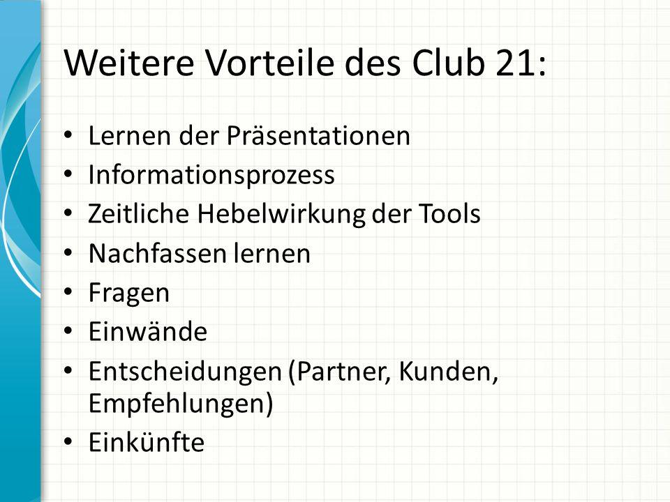 Weitere Vorteile des Club 21: