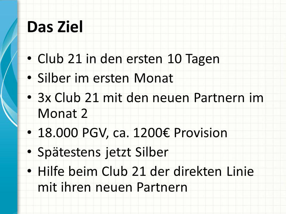 Das Ziel Club 21 in den ersten 10 Tagen Silber im ersten Monat