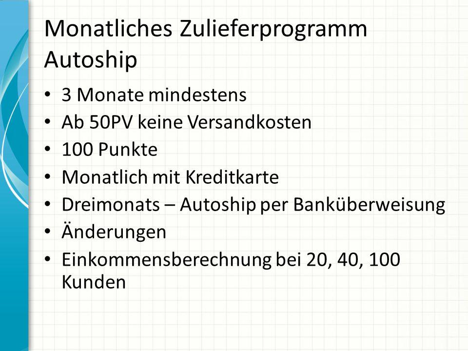 Monatliches Zulieferprogramm Autoship