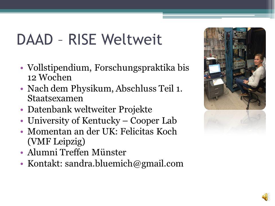 DAAD – RISE Weltweit Vollstipendium, Forschungspraktika bis 12 Wochen