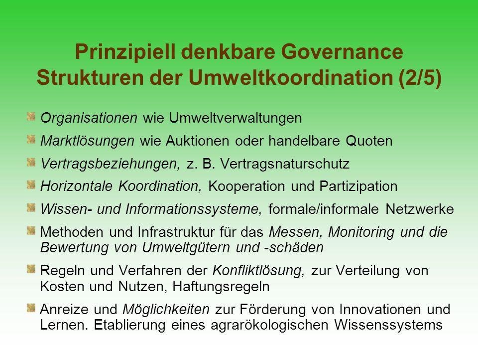 Prinzipiell denkbare Governance Strukturen der Umweltkoordination (2/5)