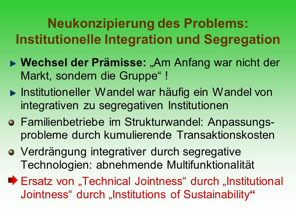 Neukonzipierung des Problems: Institutionelle Integration und Segregation
