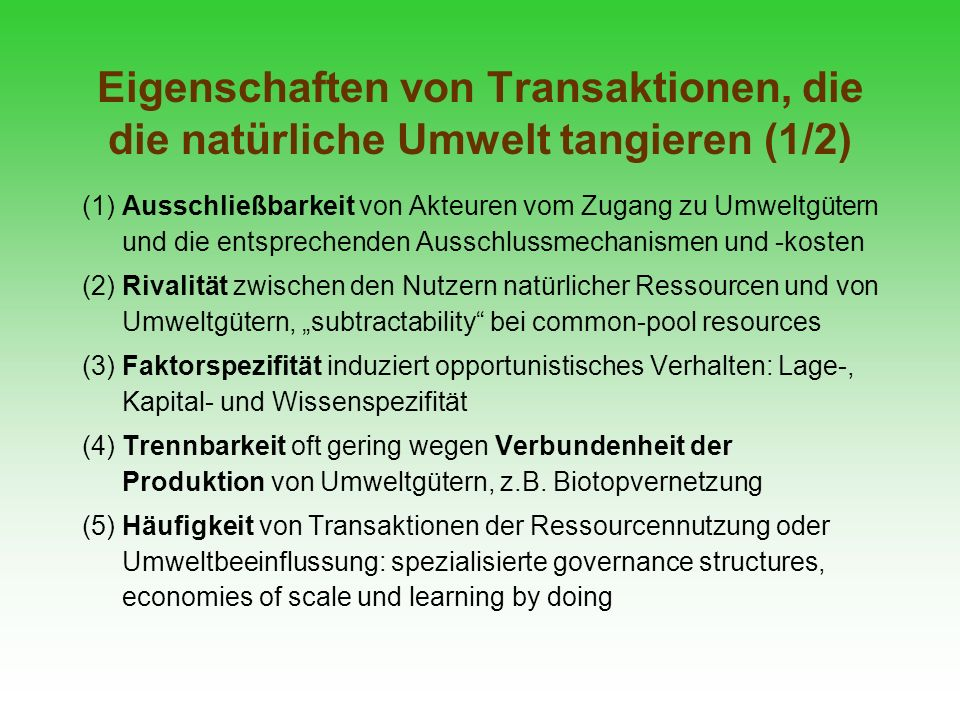 Eigenschaften von Transaktionen, die die natürliche Umwelt tangieren (1/2)