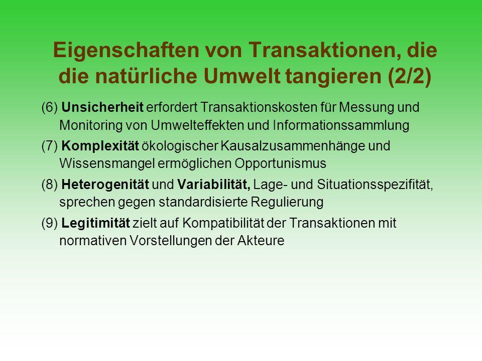 Eigenschaften von Transaktionen, die die natürliche Umwelt tangieren (2/2)