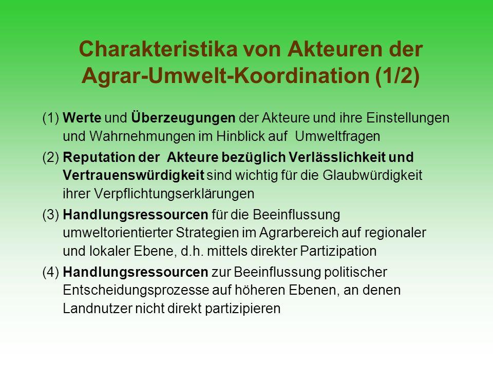 Charakteristika von Akteuren der Agrar-Umwelt-Koordination (1/2)