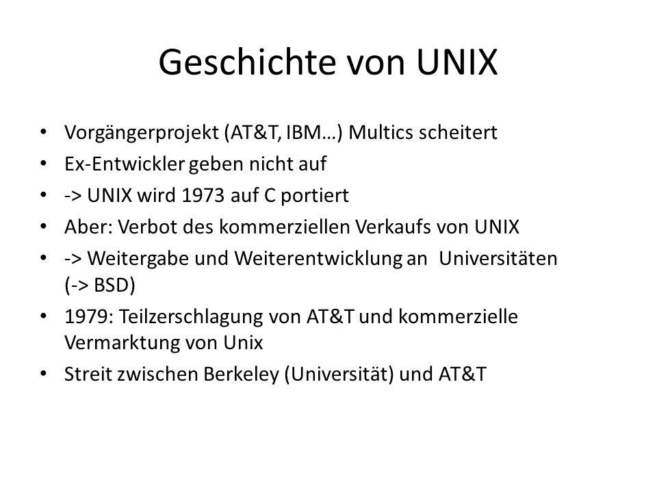 Geschichte von UNIX Vorgängerprojekt (AT&T, IBM…) Multics scheitert