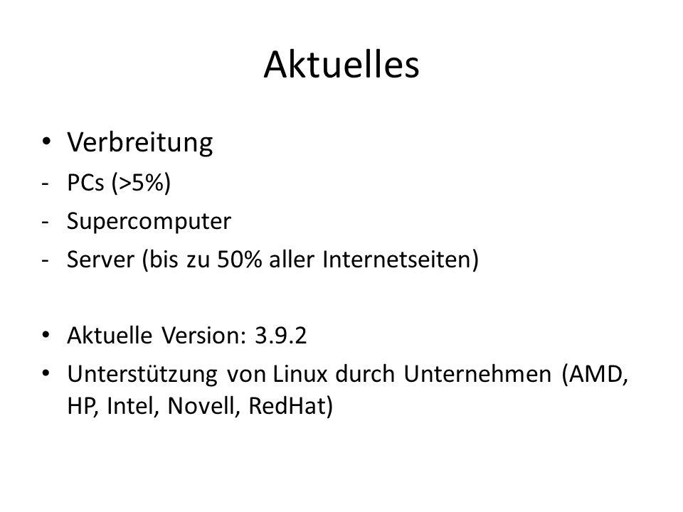 Aktuelles Verbreitung PCs (>5%) Supercomputer