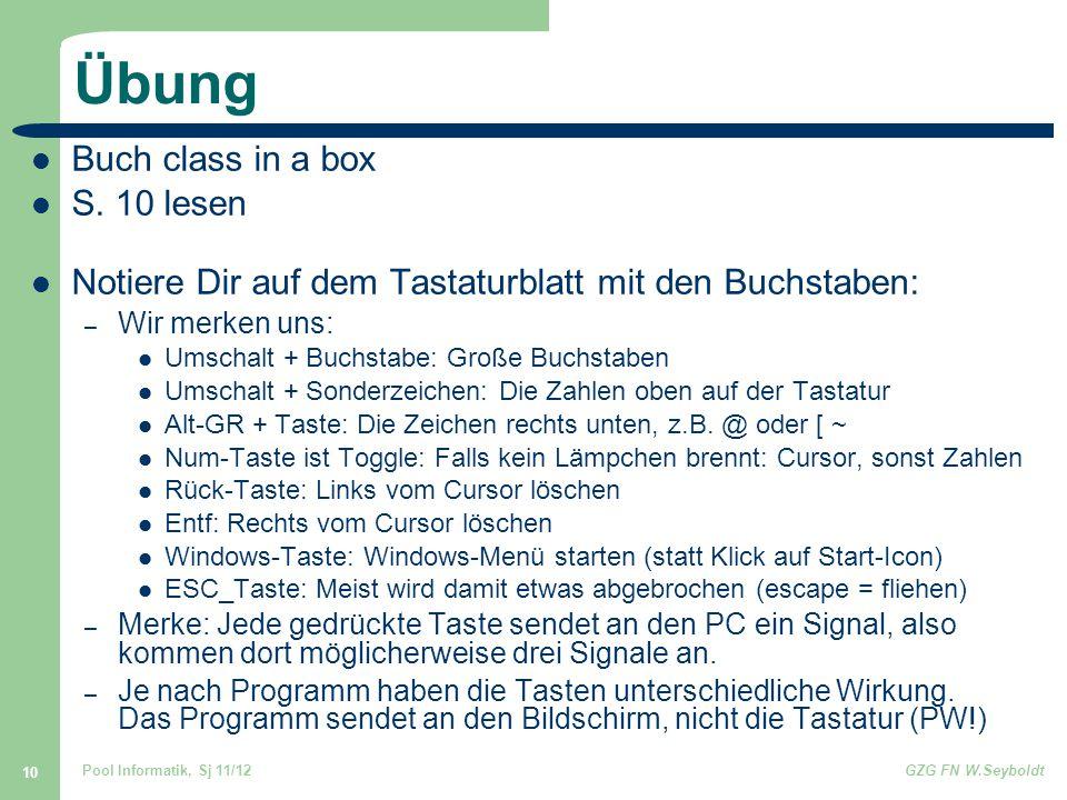 Übung Buch class in a box S. 10 lesen