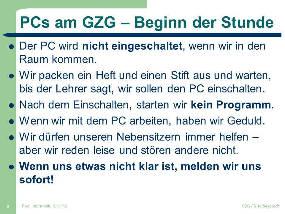 PCs am GZG – Beginn der Stunde
