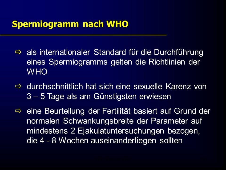 Spermiogramm nach WHO  als internationaler Standard für die Durchführung eines Spermiogramms gelten die Richtlinien der WHO.