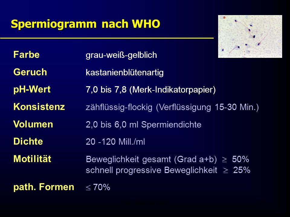 Spermiogramm nach WHO Farbe grau-weiß-gelblich