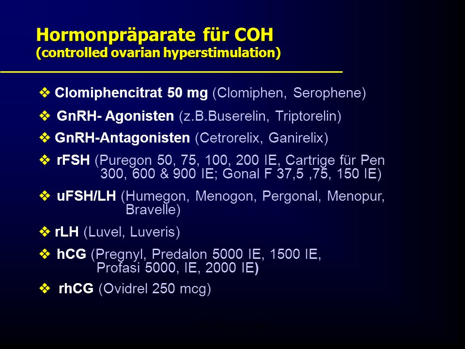 Hormonpräparate für COH (controlled ovarian hyperstimulation)