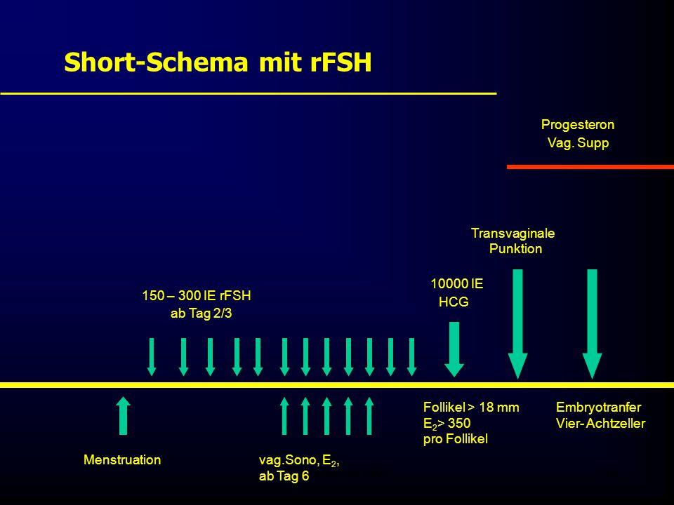 Short-Schema mit rFSH Progesteron Transvaginale 10000 IE Vag. Supp