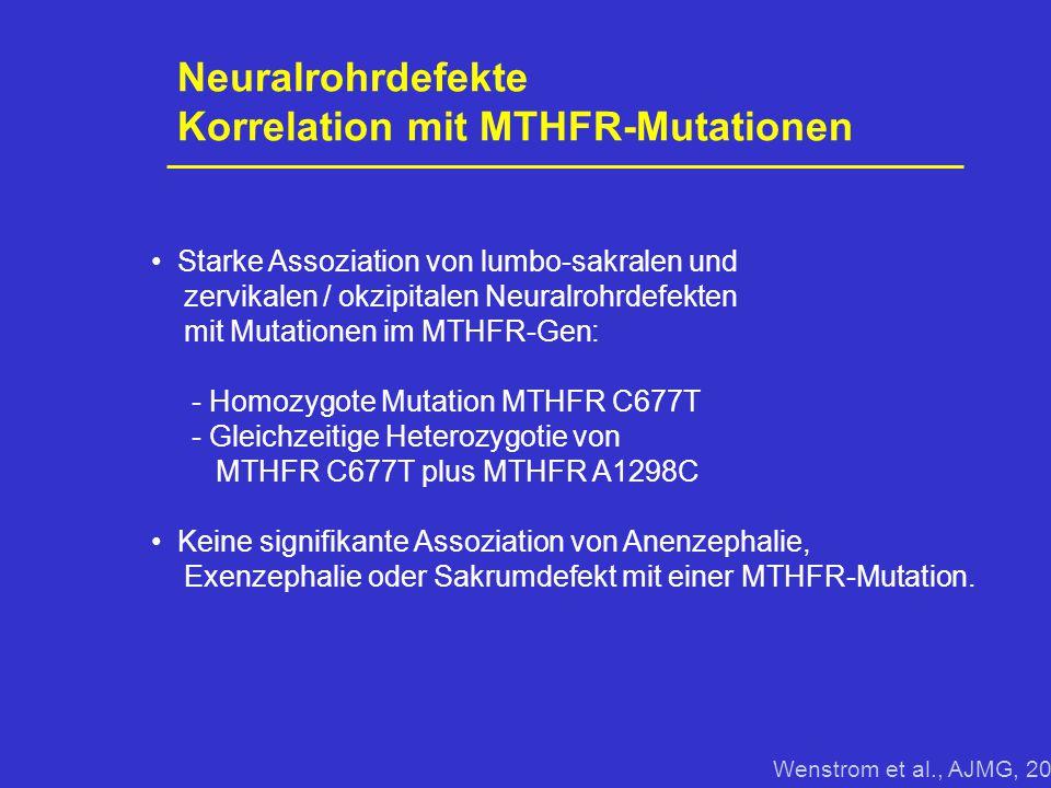 Neuralrohrdefekte Korrelation mit MTHFR-Mutationen