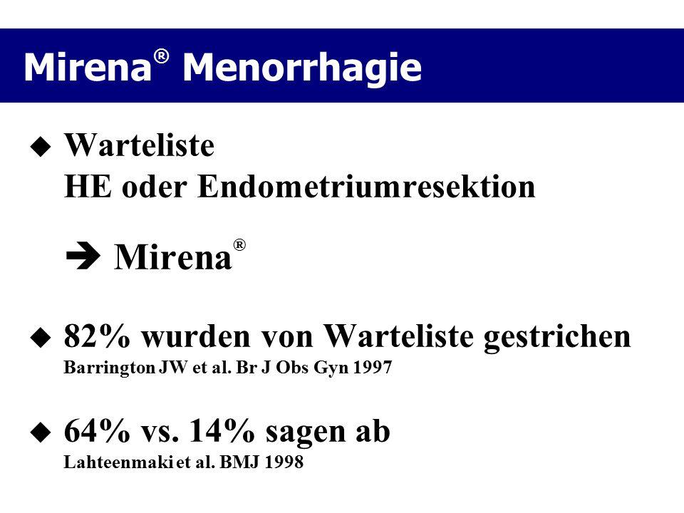 Mirena® Menorrhagie Warteliste HE oder Endometriumresektion  Mirena®
