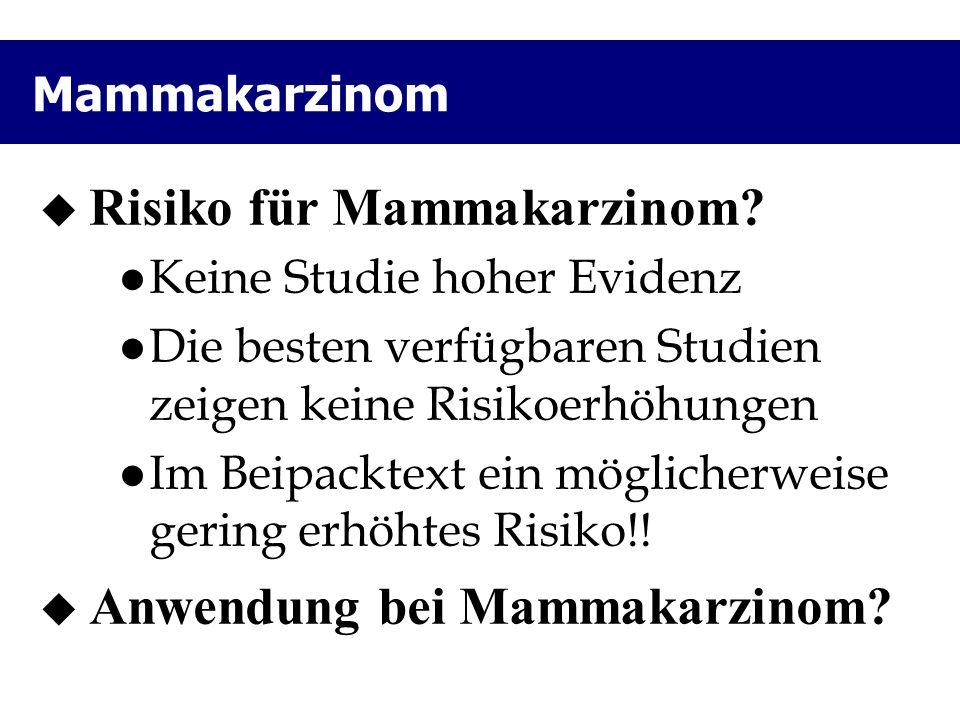 Risiko für Mammakarzinom