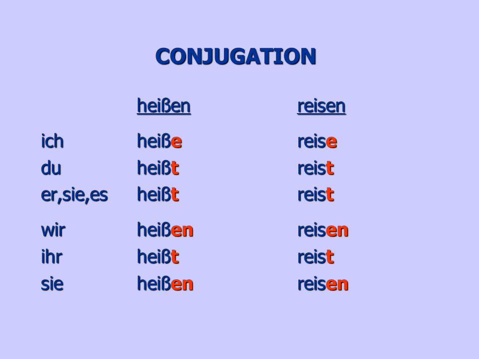 CONJUGATION heißen ich heiße du heißt er,sie,es heißt wir heißen