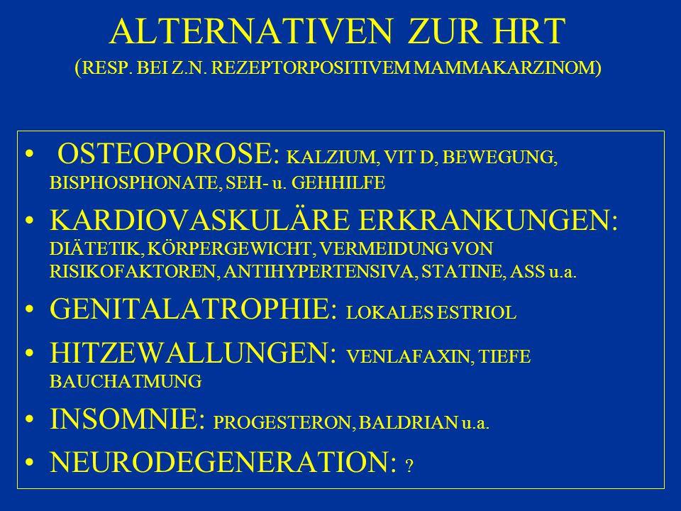ALTERNATIVEN ZUR HRT (RESP. BEI Z.N. REZEPTORPOSITIVEM MAMMAKARZINOM)