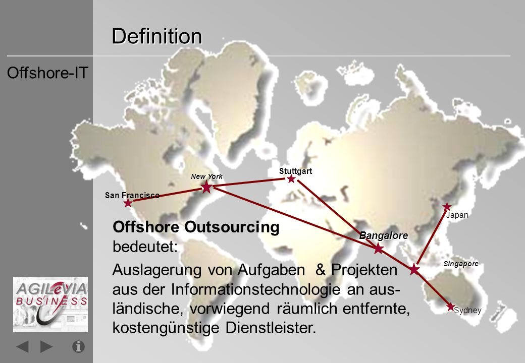 Definition Offshore-IT Offshore Outsourcing bedeutet: