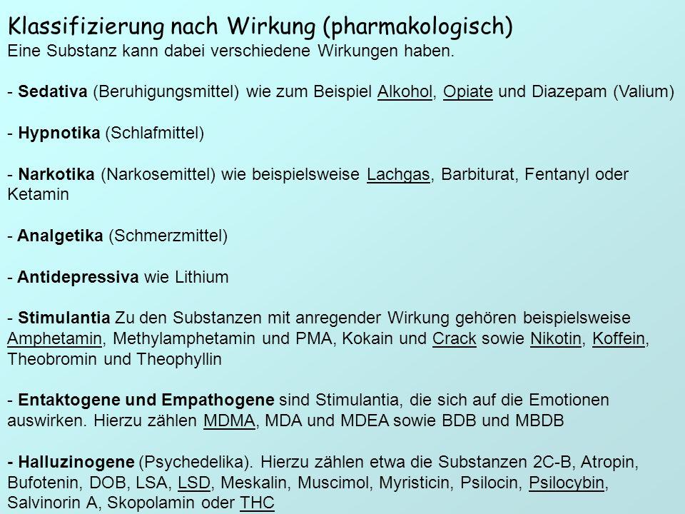 Klassifizierung nach Wirkung (pharmakologisch)