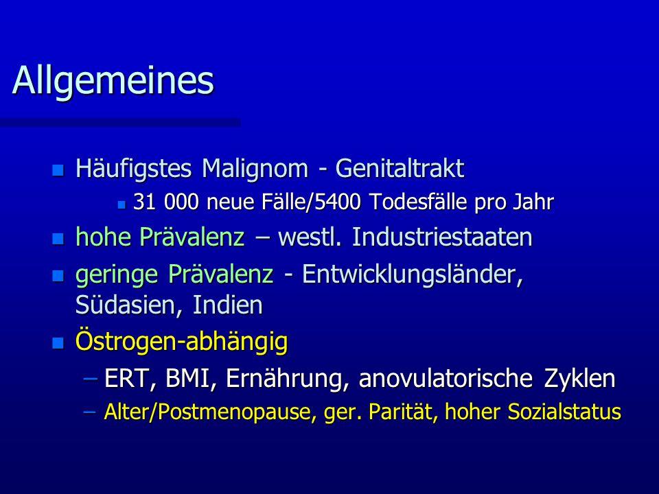 Allgemeines Häufigstes Malignom - Genitaltrakt