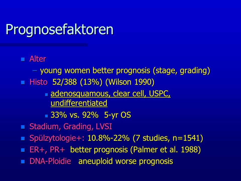Prognosefaktoren Alter young women better prognosis (stage, grading)