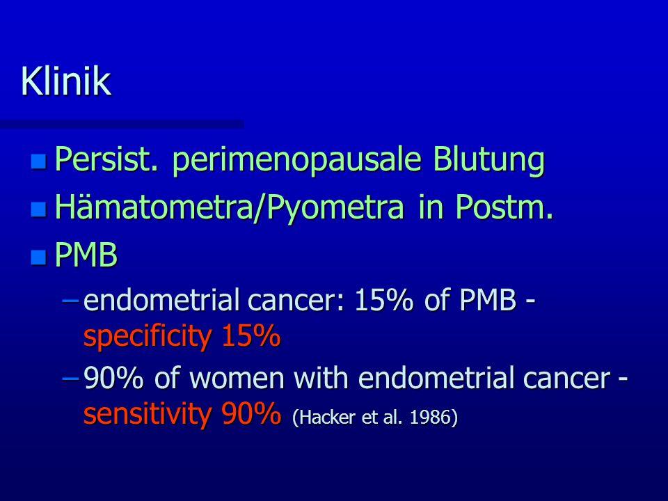 Klinik Persist. perimenopausale Blutung Hämatometra/Pyometra in Postm.