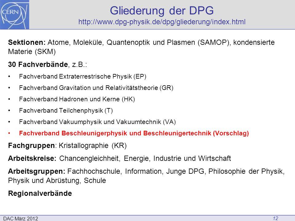 Gliederung der DPG http://www.dpg-physik.de/dpg/gliederung/index.html