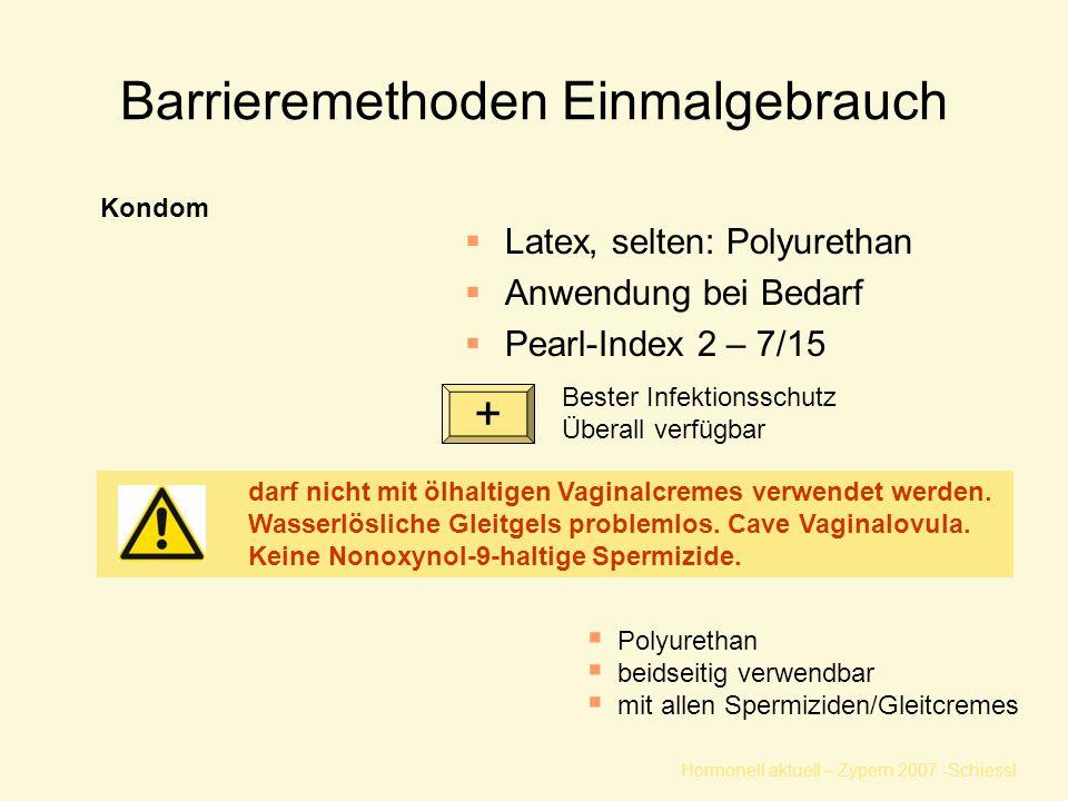 Barrieremethoden Einmalgebrauch