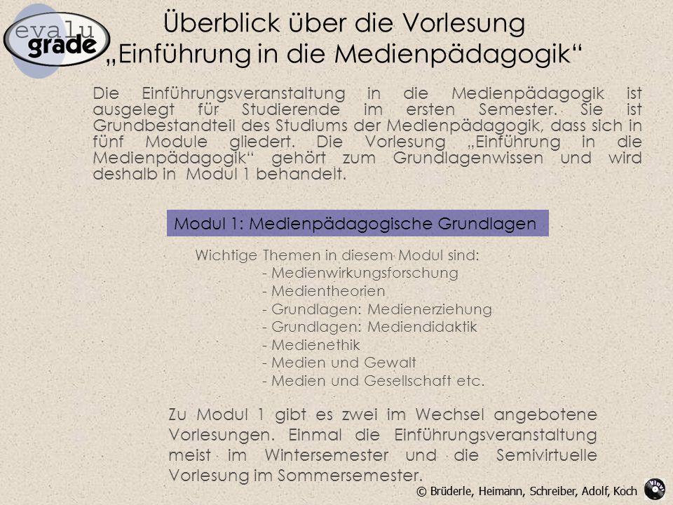 """Überblick über die Vorlesung """"Einführung in die Medienpädagogik"""