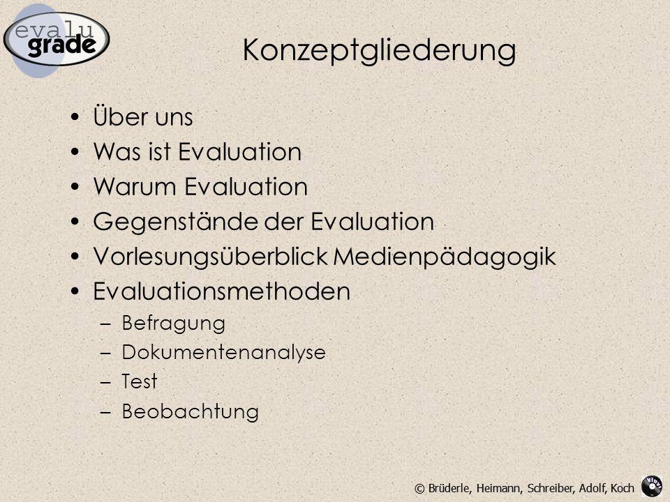 Konzeptgliederung Über uns Was ist Evaluation Warum Evaluation