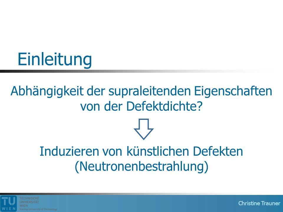 Einleitung Abhängigkeit der supraleitenden Eigenschaften von der Defektdichte Induzieren von künstlichen Defekten (Neutronenbestrahlung)