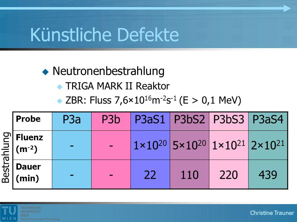 Künstliche Defekte Neutronenbestrahlung P3a P3b P3aS1 P3bS2 P3bS3