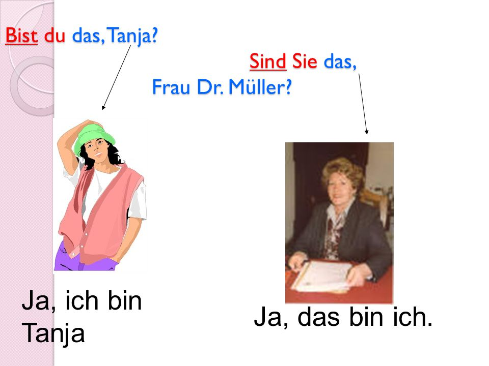 Bist du das, Tanja Sind Sie das, Frau Dr. Müller