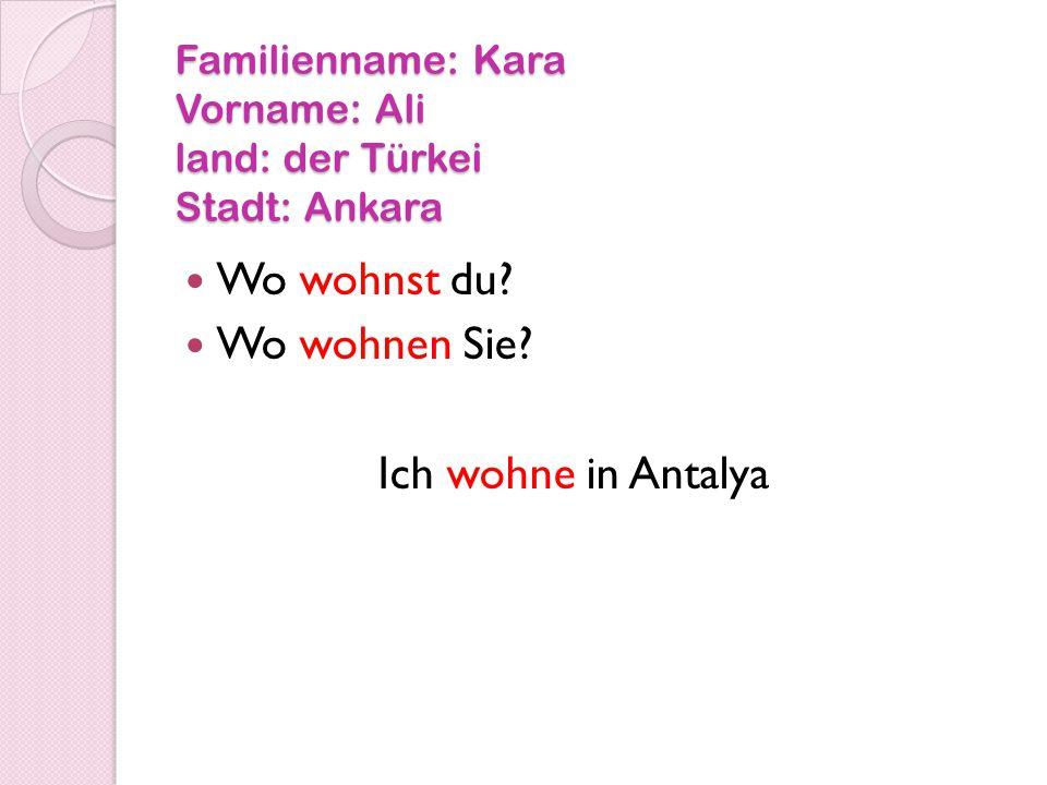 Familienname: Kara Vorname: Ali land: der Türkei Stadt: Ankara