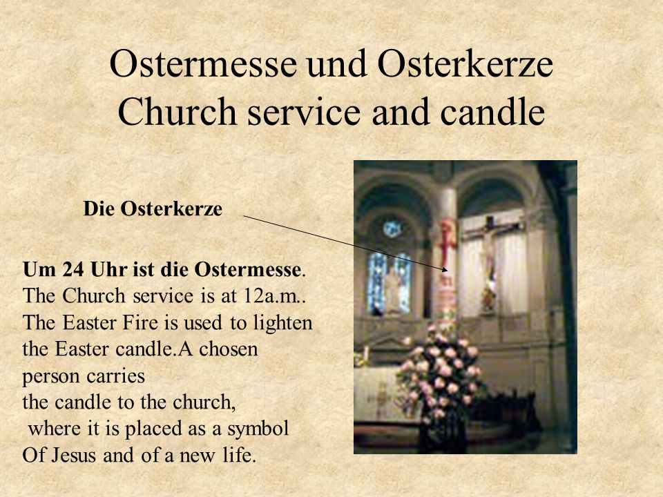 Ostermesse und Osterkerze Church service and candle