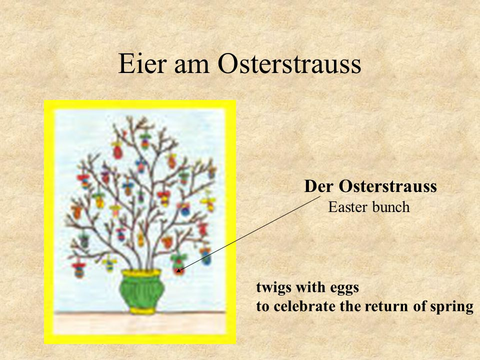 Eier am Osterstrauss Der Osterstrauss Easter bunch twigs with eggs
