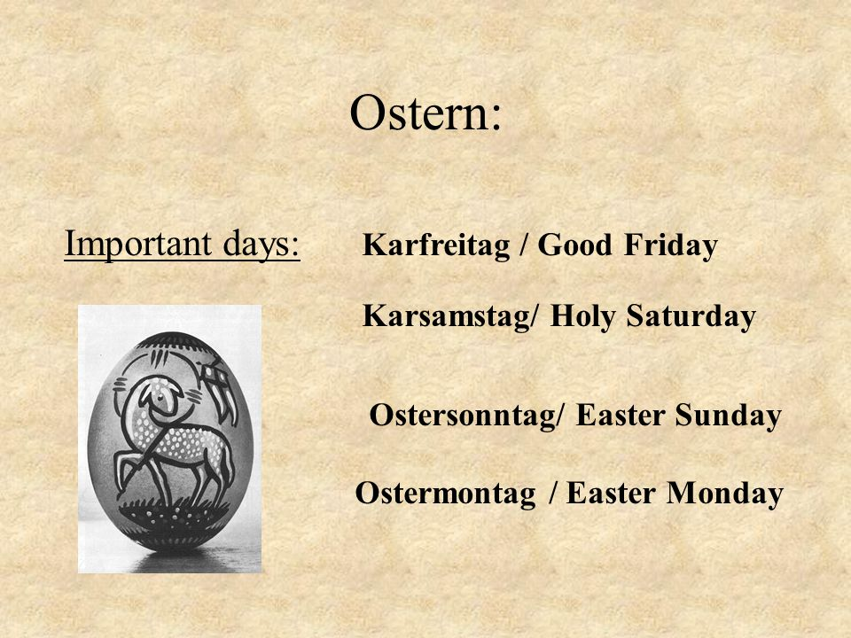 Ostern: Important days: Karfreitag / Good Friday