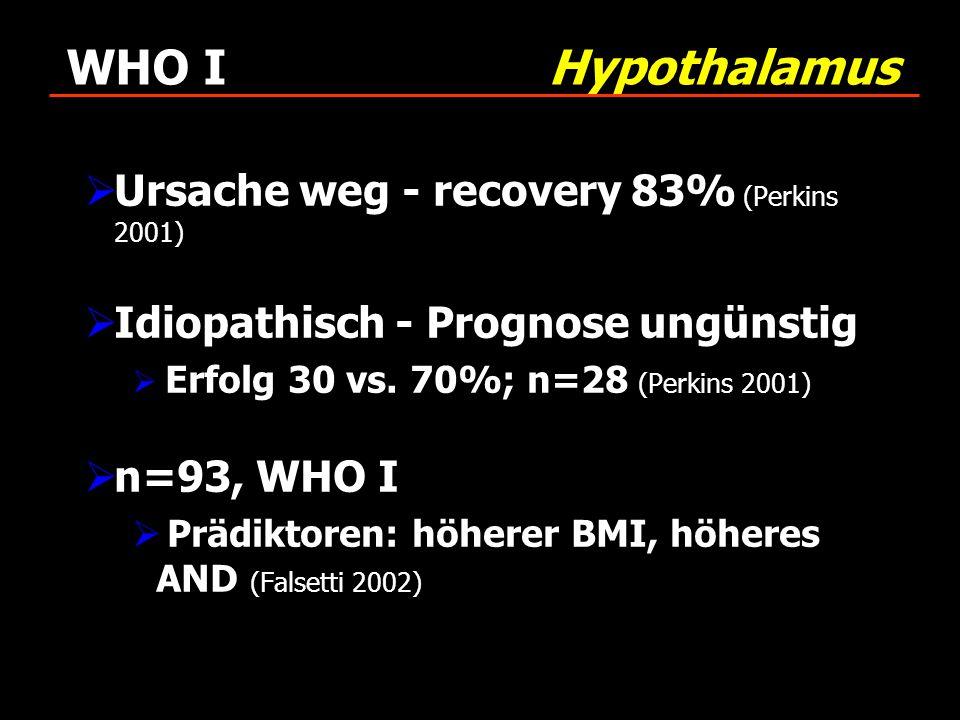 WHO I Hypothalamus Ursache weg - recovery 83% (Perkins 2001)