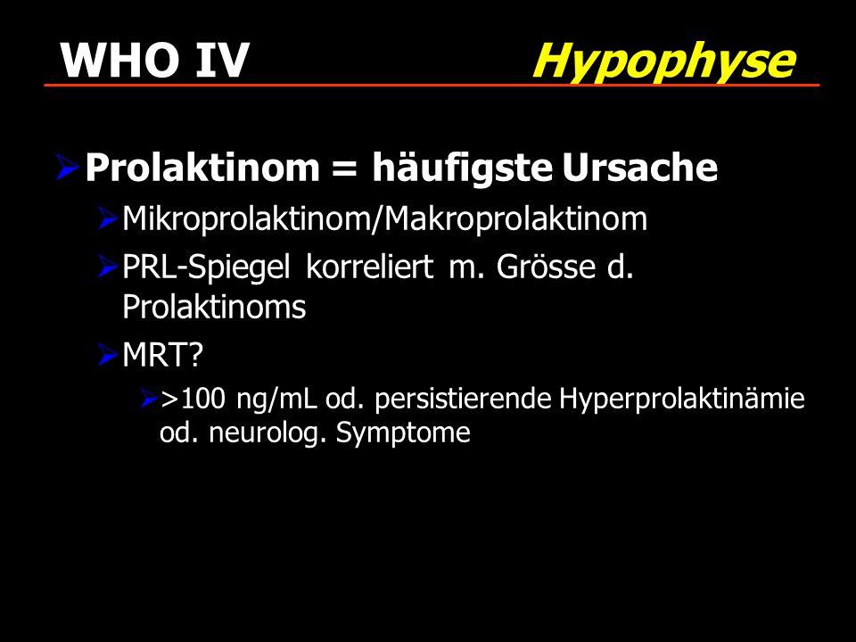 WHO IV Hypophyse Prolaktinom = häufigste Ursache