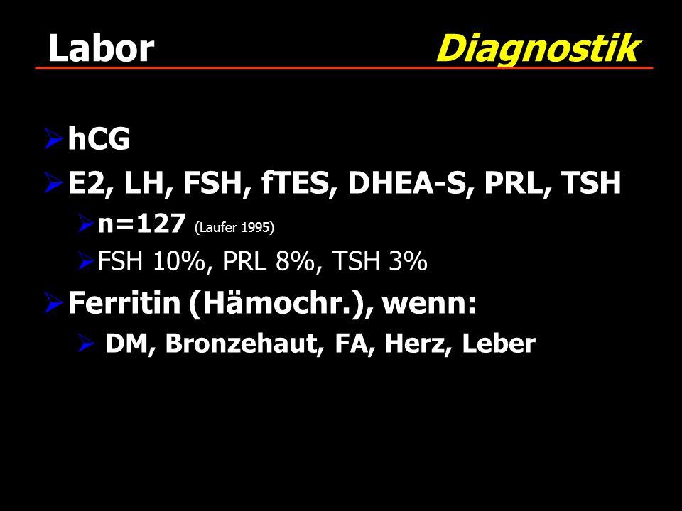 Labor Diagnostik hCG E2, LH, FSH, fTES, DHEA-S, PRL, TSH