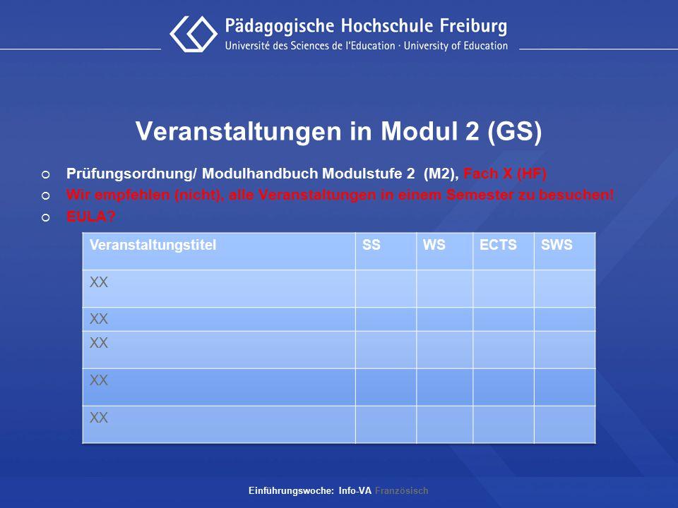 Veranstaltungen in Modul 2 (GS)