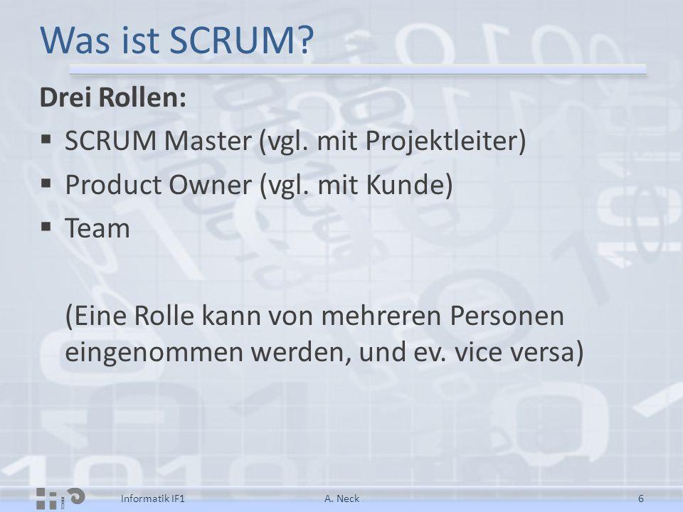 Was ist SCRUM Drei Rollen: SCRUM Master (vgl. mit Projektleiter)