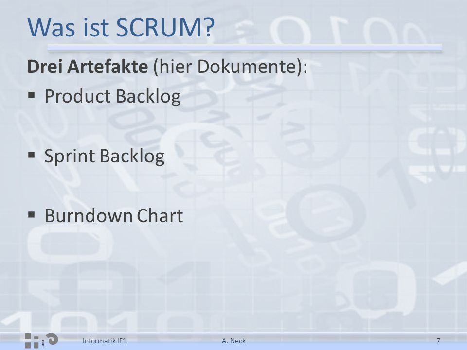 Was ist SCRUM Drei Artefakte (hier Dokumente): Product Backlog