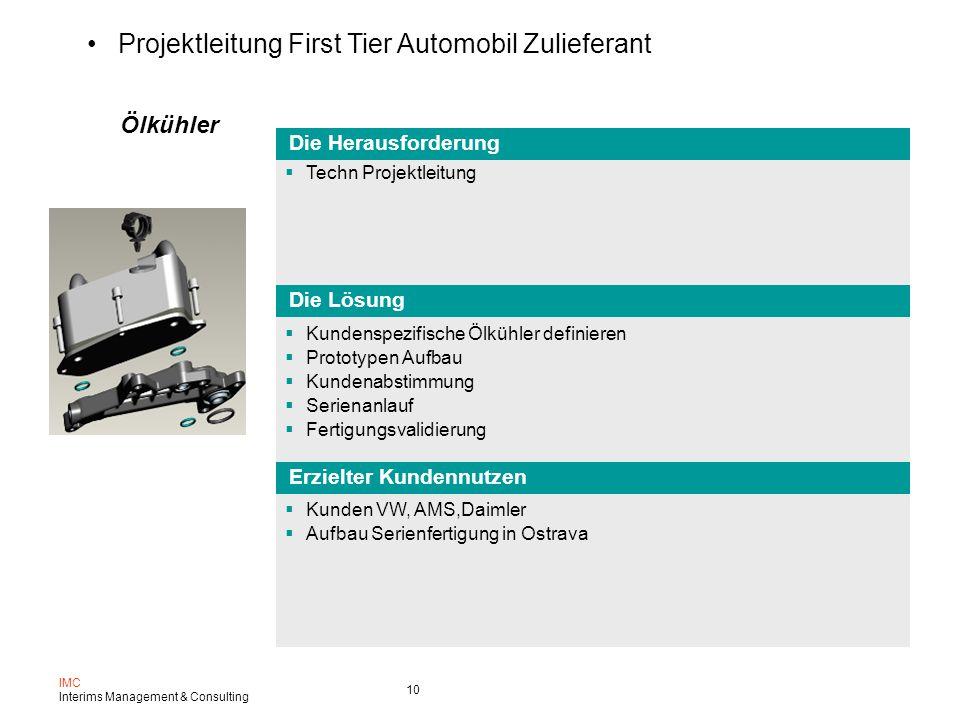 Projektleitung First Tier Automobil Zulieferant