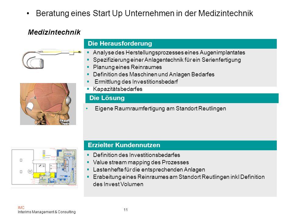 Beratung eines Start Up Unternehmen in der Medizintechnik